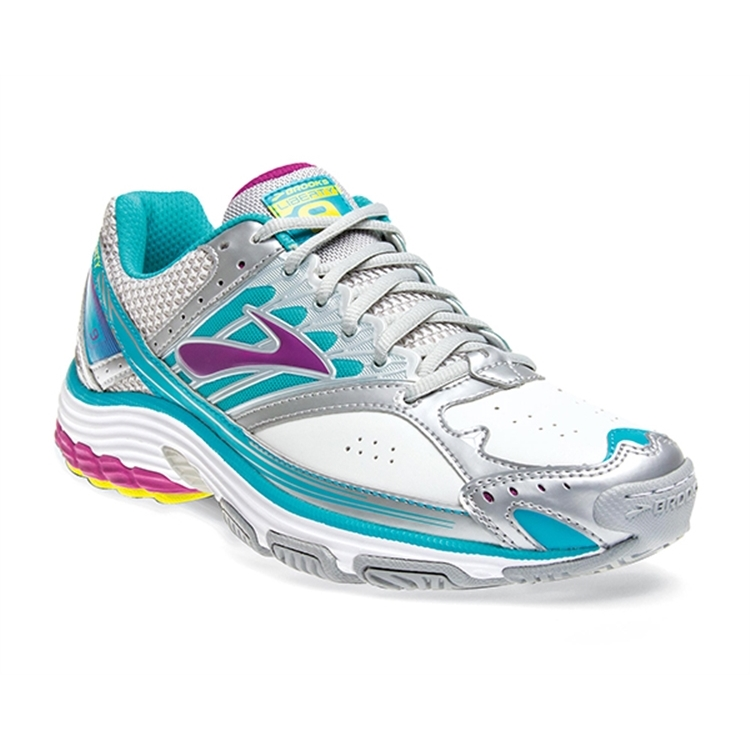brooks Women's Liberty 9 Leather Silver / Purple Wine / Bluebird