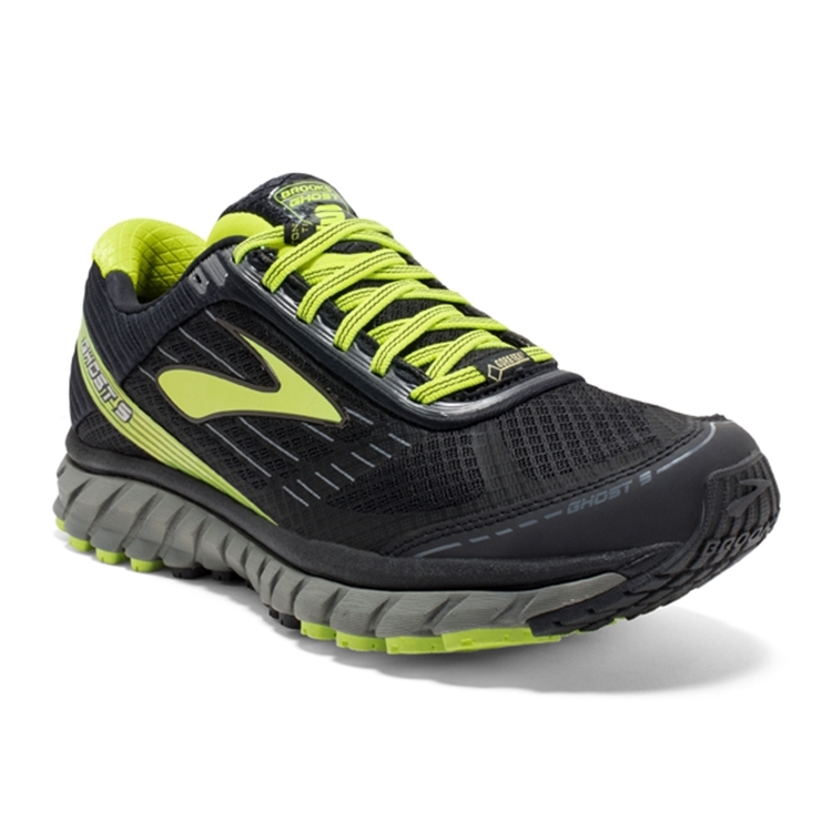 brooks Men's Ghost GTX 9 Castlerock / Lime Punch / Black