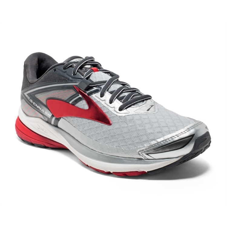 brooks Men's Ravenna 8 Silver / Anthracite / Red
