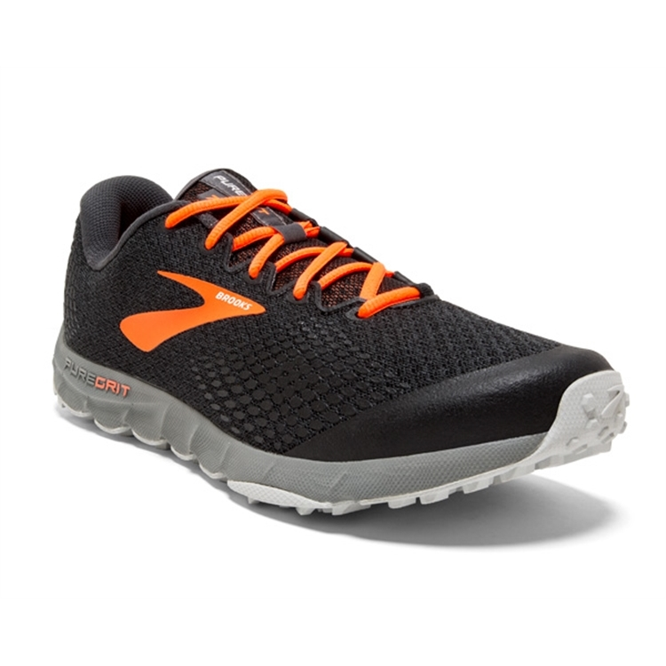 brooks Men's PureGrit 7 Black / Orange / Grey