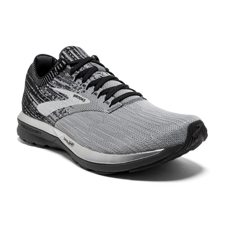 brooks Men's Ricochet Grey / Black / Ebony