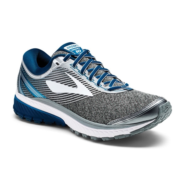 brooks Men's Ghost 10 Silver / Blue / White