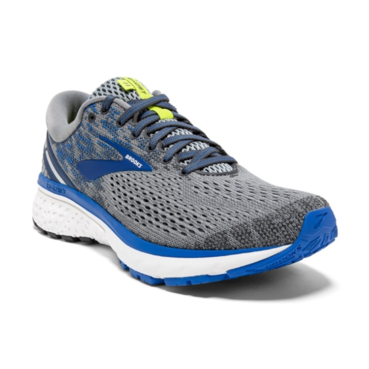 brooks Men's Ghost 11 Grey / Blue / Silver