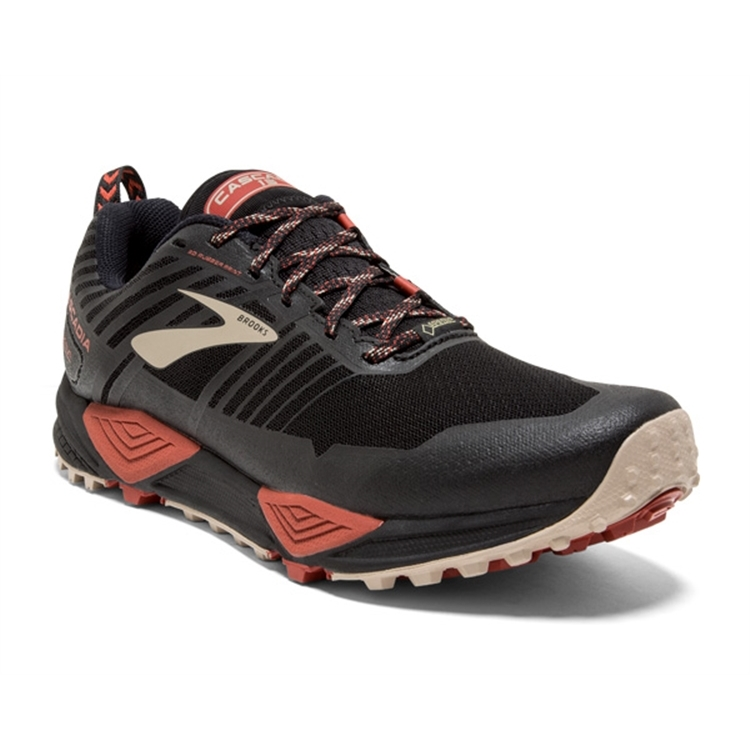 brooks Men's Cascadia GTX 13 Black / Red / Tan