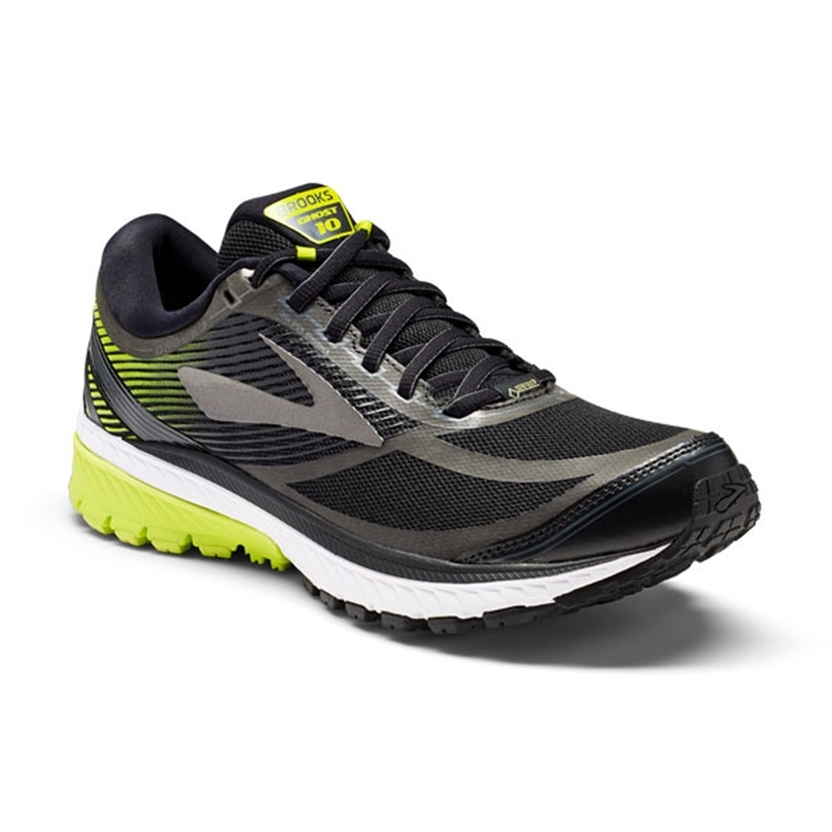 brooks Men's Ghost 10 GTX Black / Ebony / Lime Popsicle