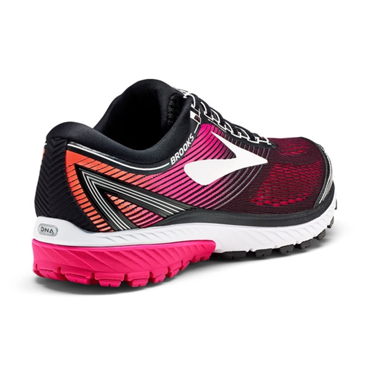 brooks Women\'s Ghost 10 Black / Pink Peacock / Coral