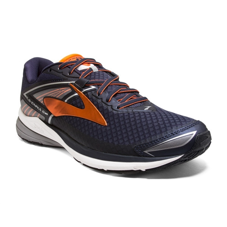 brooks Men's Ravenna 8 Navy / Orange / Silver