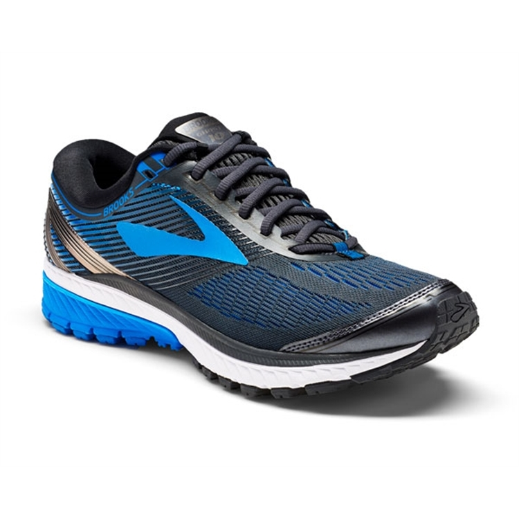 brooks Men's Ghost 10 Metallic Charcoal / Brooks Blue